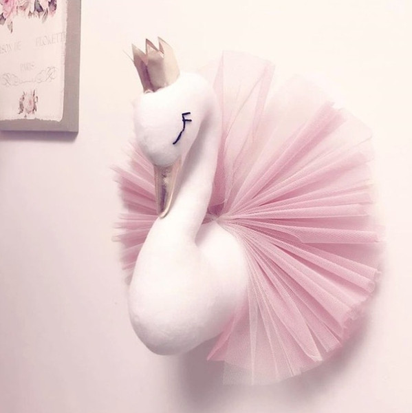top popular Vieeoease Baby Room Decorate Cute Crown Swan Wall Hanging Decoration 2018 Fashion Cartoon Animal Lace Design for Children Room EE-1191 2021