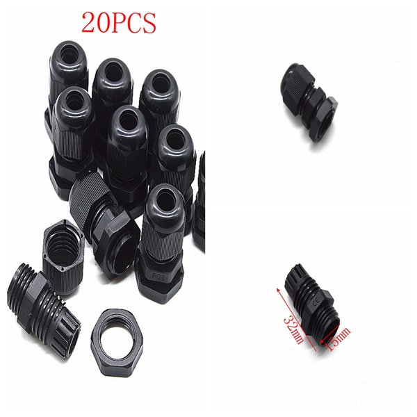 Waterproof adjustable PG9 waterproof IP68 safety nylon 3-6mm 21mmx35mm black cable gland 20pcs Connector