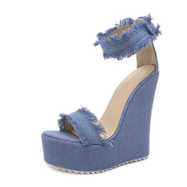 2018 New Designer Denim Sandals Summer Roman Sandals High Quality Wedges High Heels Peep-Toe Platform Shoes Woman