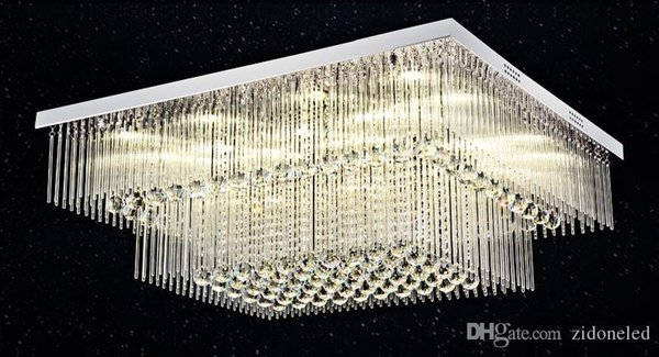 New Modern rectangle crystal ceiling light 2 layers K9 crystal ball Glass tube ceiling lighting fixture for living room bedroom
