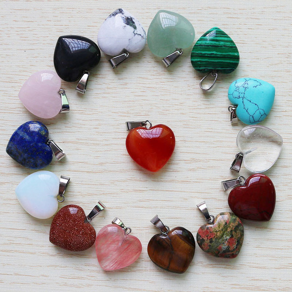 fubaoying Charms Heart Shape Love Gem Stone Pendants 20mm*8mm Loose Beads DIY Jewelry making Bracelets and Necklace for Women Gift free