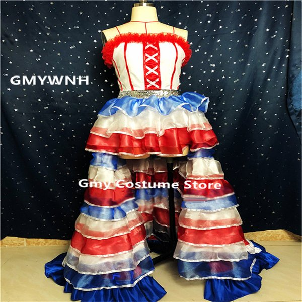 K91 Colorful Puff skirt singer ballroom dance costumes stage show wears dresses Princess skirt party outfit clothe bar headdress rave music