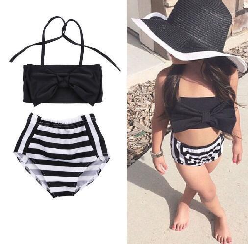 Baby Striped Neckholder Bikinis schwarz weiß top + kurze 2 stücke Mode Baby Mädchen Sommer Kinder Halfter Streifen Bademode FFA074