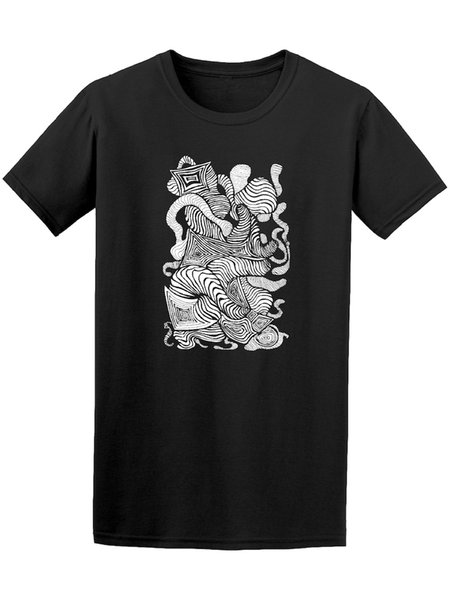 Abstract Black And White Pattern Tee - Image by Shutterstock New T Shirt Spring Summer Short Sleeve Casual printing short sleeve