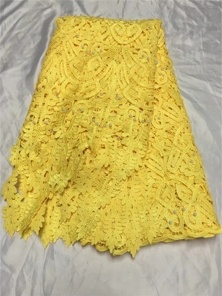 The latest red embroidery 3D dress, water-soluble bead lace, African French chiffon, high quality wedding dress 5yard/lot YDH31