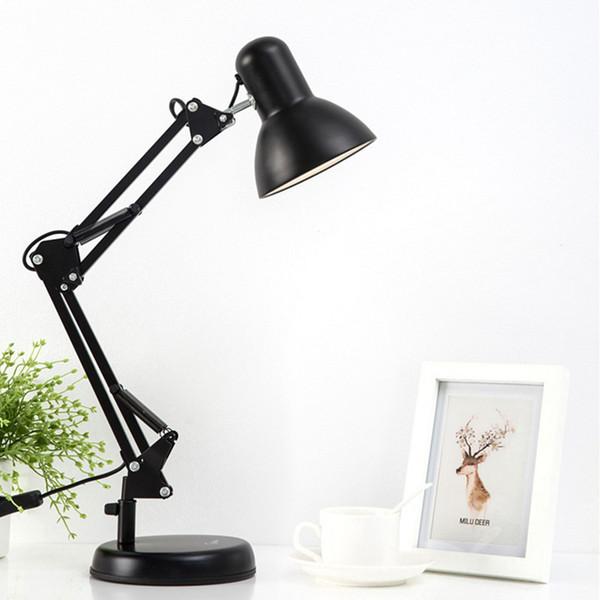 Flexible Swing Arm Clamp Mount Desk Lamp 110V-240V Black Table Light Reading Lamp For Home/ Office/ Studio/Study