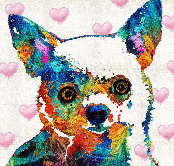 YJ ART colorful-chihuah Artwork Unframed Modern Canvas Wall Art for Home and Office Decoration,Oil Painting ,Animal painting ,Frame painting