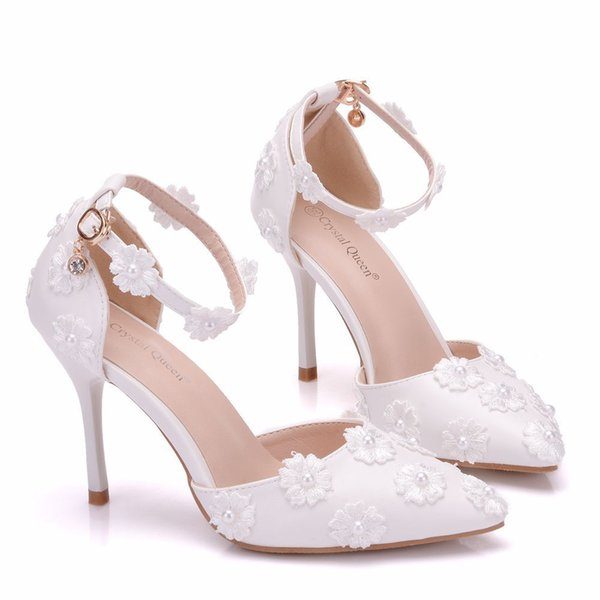 New spring elegant pointed toe shoes for women White pearls high heel wedding shoes thick heels Beautiful lace flowers Plus Size Shoes