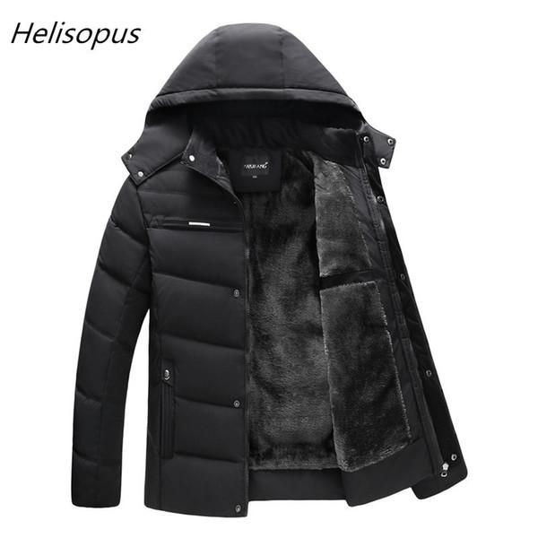 Helisopus 2018 Man Parka Thicken Warm Jacket Casual Hooded Outwear Cotton Padded Coats Winter Windbreakers Clothings Men C18111201