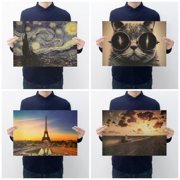 Kraftpapier Poster Eiffelturm Van Gogh Sternenhimmel Katze Landschaft Playbill Rechteck Dekorative Gemälde Für Haus 0 69zxb BB