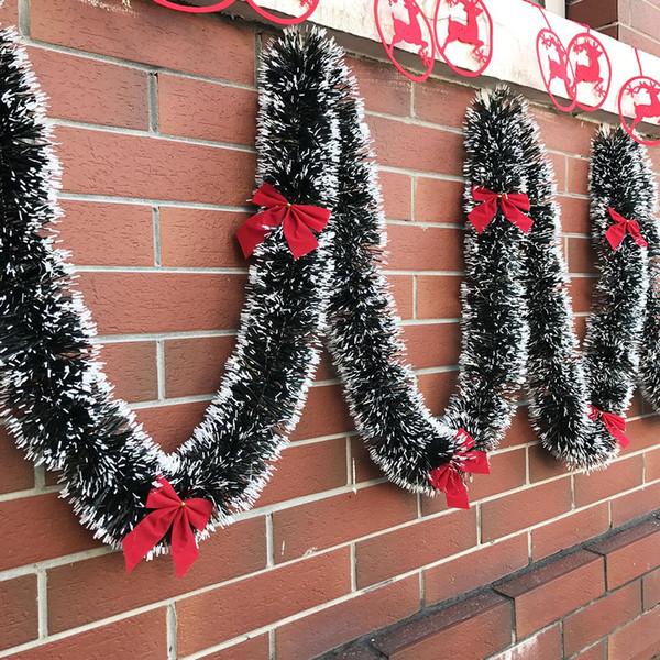 2M Christmas Decoration Bar Tops Ribbon Garland Christmas Tree Ornaments White Dark Green Cane Tinsel Party Supplies