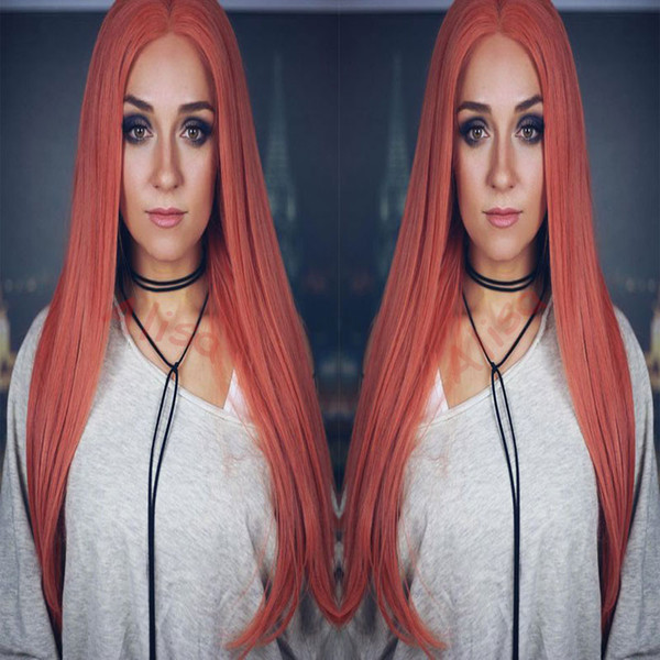 New Cosplay Wigs Black/Pink Long Silky Straight Lace Front Wig Heat Resistant Glueless Synthetic Lace Front Wigs for Black Women