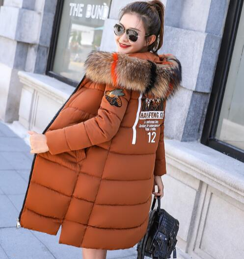 Winter new color large fur collar women's long loose hooded padded cotton jacket coat jackets