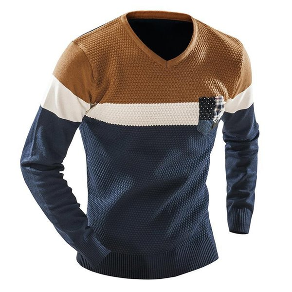 QINGYU Male 2018 Men'S Fashion Mixed Colors Sweater Men Leisure Slim Pull Homme V-Neck Long-Sleeved Sweater Solid XXL S917