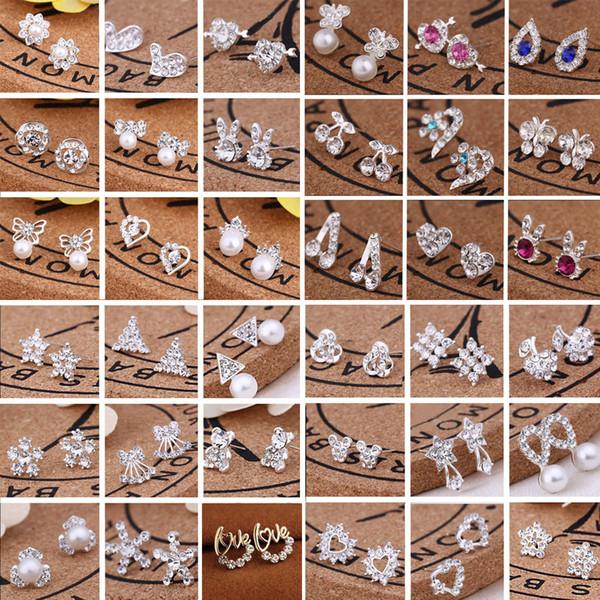 best selling Hot sell 45 styles creative ear studs fashion snowflake beer crystal rhinestone pearl ear studs new pearl earrings