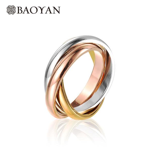 Baoyan Fashion Elegant 316L in acciaio inossidabile argento oro rosa triplo anello a fascia colorata per le donne N1