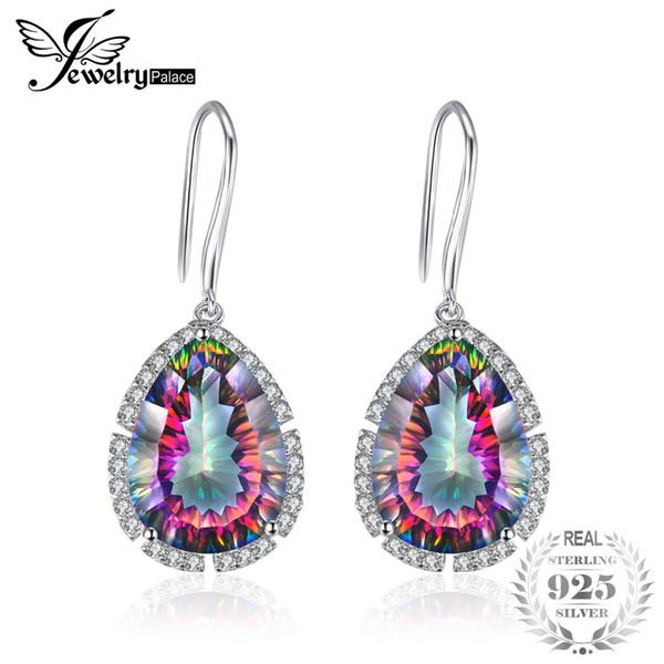 JewelryPalace 12ct de haute qualité tout neuf énorme luxe Mystic Topaz Boucles d'oreilles Dangles mariage Concave Pear Cut Argent 925