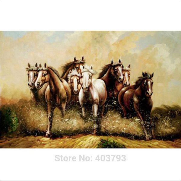 Top Quality Hand Painted Handcraft Animal oil painting on canvas No stretched ArtRunning Horse Modern Oil Painting