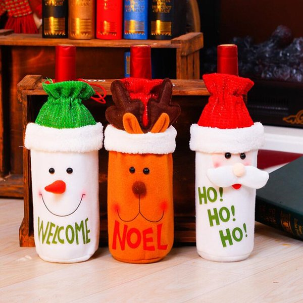 Christmas Santa Claus Red Wine Bottle Cover Bags Snowman Deer Gift Bag Holders Christmas Dinner Party Table Decoration New Year