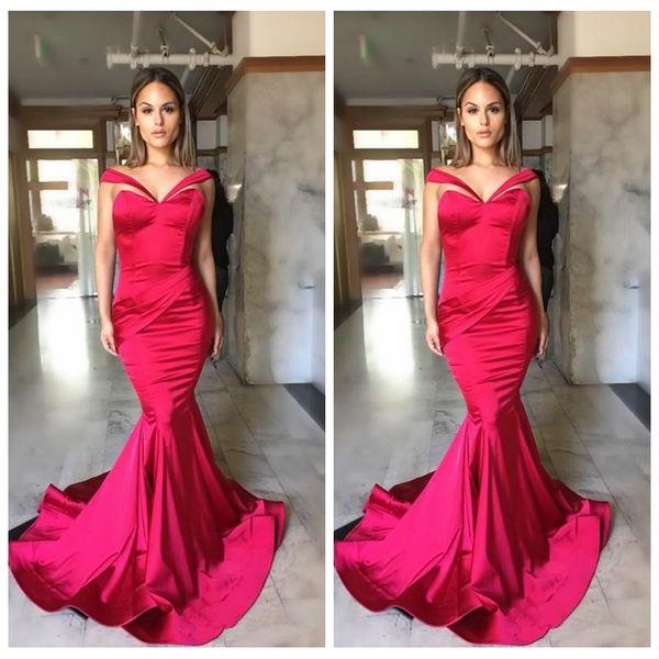 Compre Vestidos Rojos Sexy Ropa De Noche 2018 Plisados Con Cuello En V Sirena Vestidos De Fiesta De Graduación Largos Formales Vestido Para