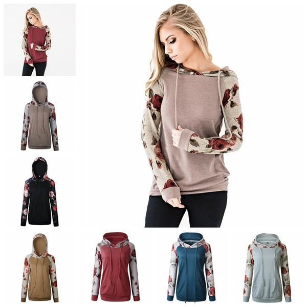 Frauen-Kapuzenpullis-Blumendruck-mit Kapuze Herbst-lange Hülsen-Sweatshirt-Art- und Weisedruck-Oberseiten-Mädchen-beiläufige Oberbekleidung Hoodies-Hauptkleidung GGA1155