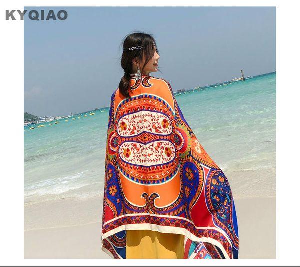 KYQIAO Women scarf 2018 female autumn summer Thailand style long ethnic original print head scarf travel sea shawl muffler