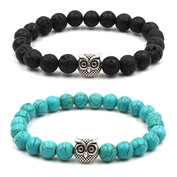 Owl 8MM Turquoise & Natural Black Lava Stone Beads Elastic Bracelet Essential Oil Diffuser Bracelet Volcanic Rock Beaded Hand Strings