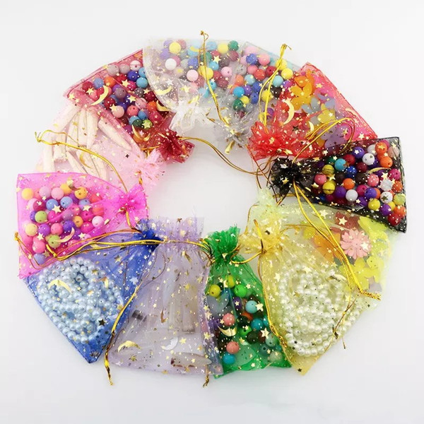 Hot Sale 100pcs/lot Organza Colorful Bags Moon and Star Drawstring Pouches Popular Gift Bags&Pouches Cheap 7*9cm Jewelry Bag
