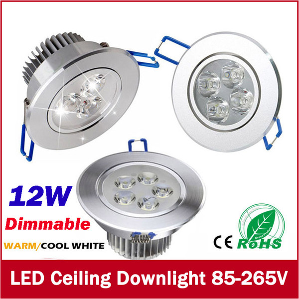 top popular Free Shipping Dimmable 9W 12W Downlights led Bulbs 85-265V Recessed lighting led spot light with led driver 3years warranty 2019