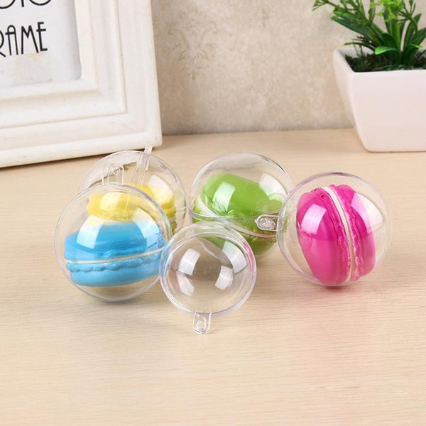 5cm Diameter Macaron Ball Plastic Christmas Tree Decorative Transparent Wedding Candy Box With Hanging Hole