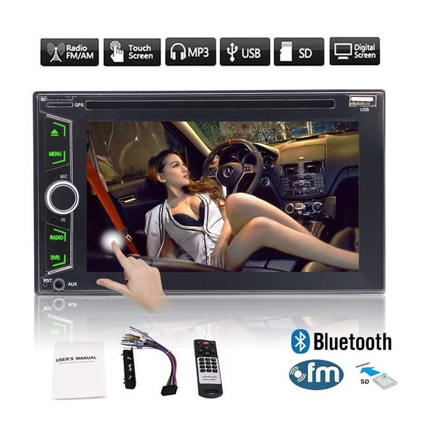Stereo CD Car DVD Player 6.2''Double Din In Dash Car Radio Video Multimedia Player Navigator Bluetooth GPS Navigation System Remote&Map Card