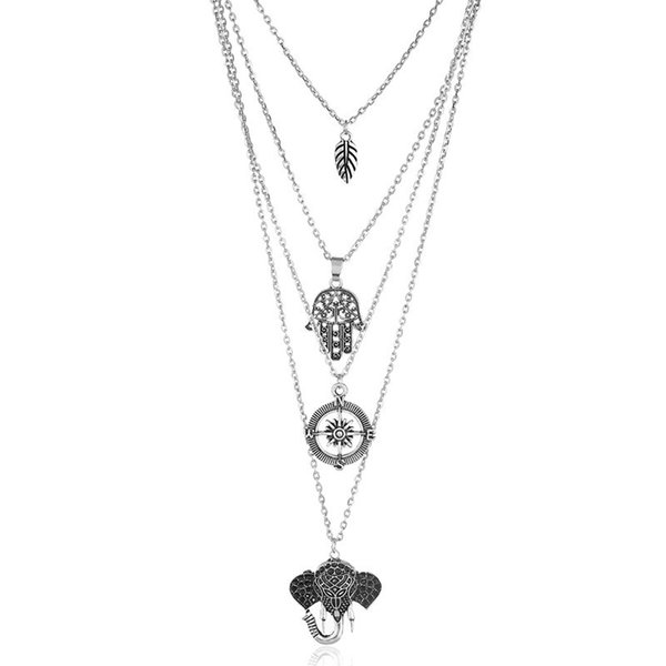 2018 New Lady Long Trendy Multistrato in argento con pendenti a forma di pendenti Collana vintage in argento con catena in metallo argentato