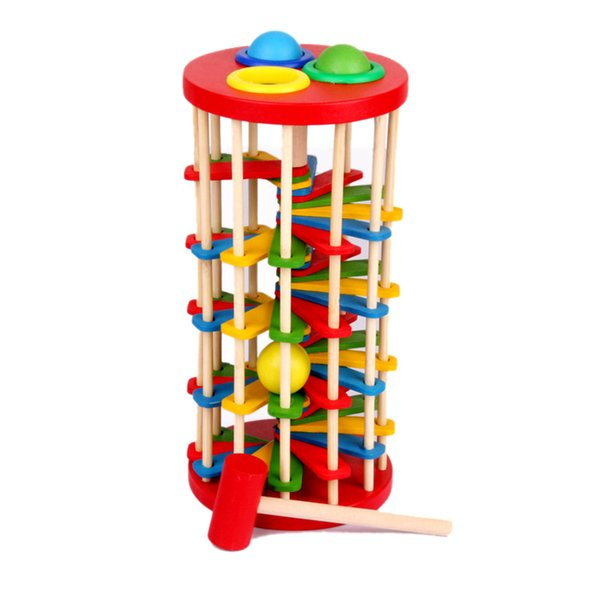 Wooden Pounding Hammer Toy Knock Ball OFF Ladder Kids Children Early Educational Toys