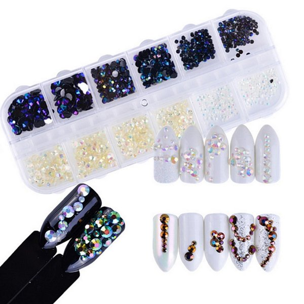 1 Box 3000pcs 1.5mm Color Rhinestones Nail Decoration Round Multi-size Glitters Clear With Hard Case DIY Nail Art 3D Decorations
