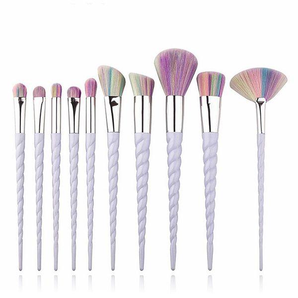 Hot 10 PCS Spazzole per il trucco Il ventilatore unicorno spazzole Strumenti per il trucco spedizione gratuita Q33 di alta qualità