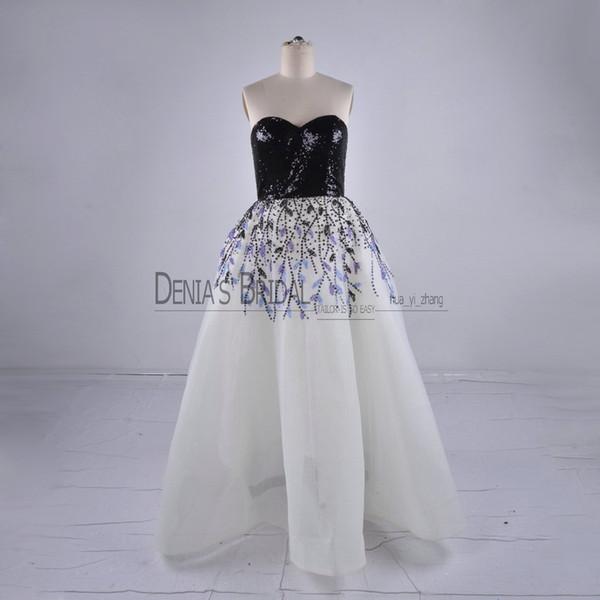 2018 vestido de baile vestidos de noite com mangas pescoço mangas lantejoulas frisado faísca preto e branco Bing árabe formal vestidos de baile