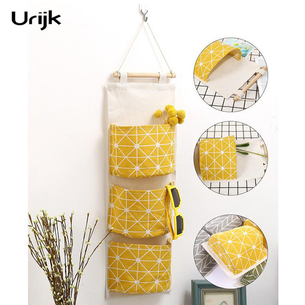 Urijk Multilayer 3 Pockets Sundries Hanging Organizer Clothes Bedroom Bathroom Home Storage Bag Wall Wardrobe Hanging Baskets