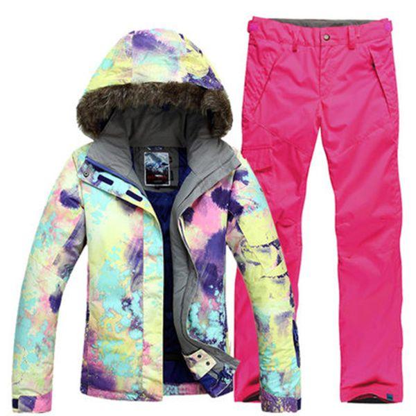 New GSOU SNOW Single Double Board Women's Ski Suit Hair Collar Thermal Waterproof Windproof Ski Jacket Pants Size XS-L