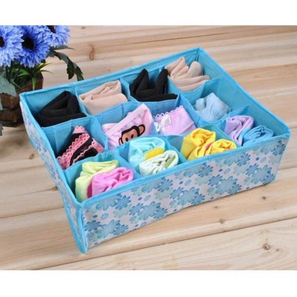 12 Grid Bag Non-Woven Fabric Folding Case Storage Box For Bra Socks 31.5*22.5*10.5CM Underwear Organizer P17