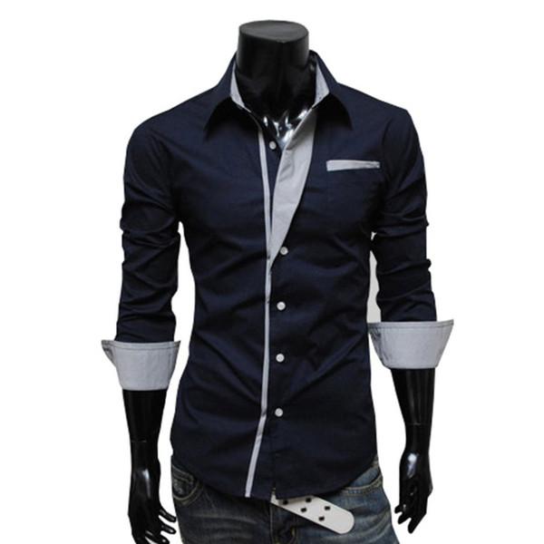 2018 Men Fashion Casual Long Sleeved Printed shirt Slim Fit Male Social Business Dress Shirt British Style Mens shirts Clothing