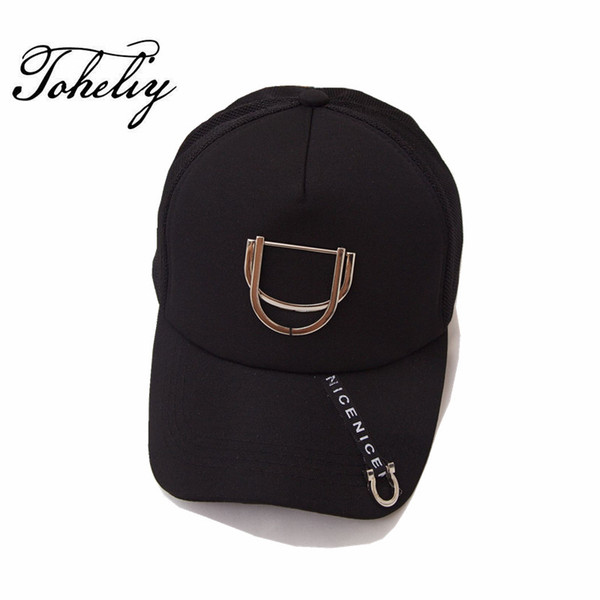 2017 Fashion all-match summer Metal pendant Cotton Breathable yarn outdoor lovers baseball cap