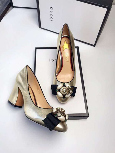 Top Quality Luxury Letter Pearl diamond Bee Ribbon Metal Buckle High Heel shoes Cowhide leather Woman 7.5cm heels Dress Shoes With Box