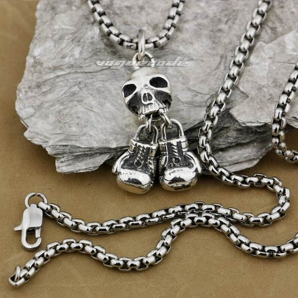 LINSION 925 Sterling Silver Boxing Gloves Skeleton Skull Mens Biker Pendant 9E004 Stainless Steel Necklace 24 inches