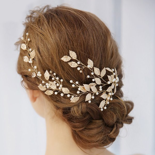 Accessori Catena Gold Leaf modo della fascia dei capelli dorati dei fogli di Tiara Wedding testa di rame metallo fascia capelli della sposa Ornaments233