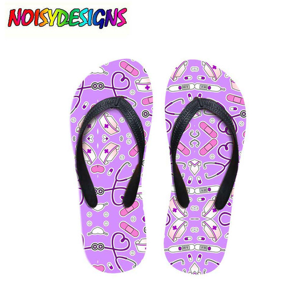 Nurse Moons and Babies Printed Flip Flops Women Summer Beach Water Slippers Fashion Female Rubber Sandals Flat house Shoes