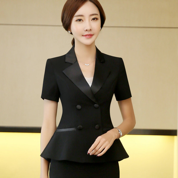 Été femme femmes Veste de costume OL officiel à manches courtes Blazer double boutonnage travail Noir Blanc Bureau Slim Blazers S-4XL