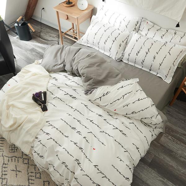 Großhandel Bettwäsche Set Englisch Buchstaben Cartoon Tiere Einfachen Stil Bettbezug Sets Soft Polyester Flachbettlaken Set Kissenbezug Von Caley