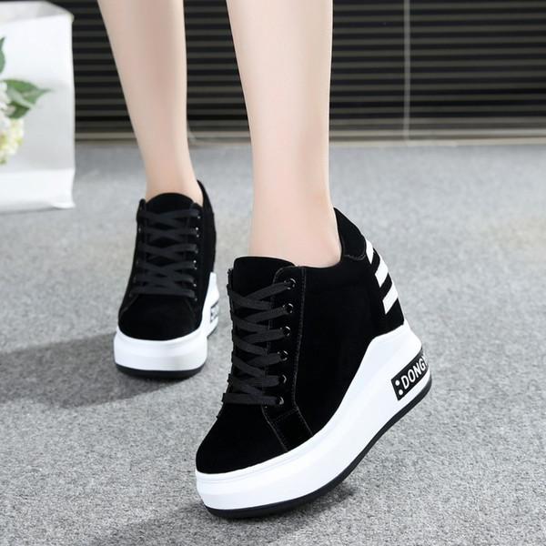 fashionwardrobe / Couro PU Lace Up Cunhas Sapatos de Salto Alto Mulher 12 cm Altura Crescente Cunha Sneaker Moda Mulheres Designers Sapatilhas Cunha