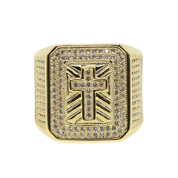 2018 hip hop cross rings for men with gold filled big heavy ice out mens gold ring jewelry
