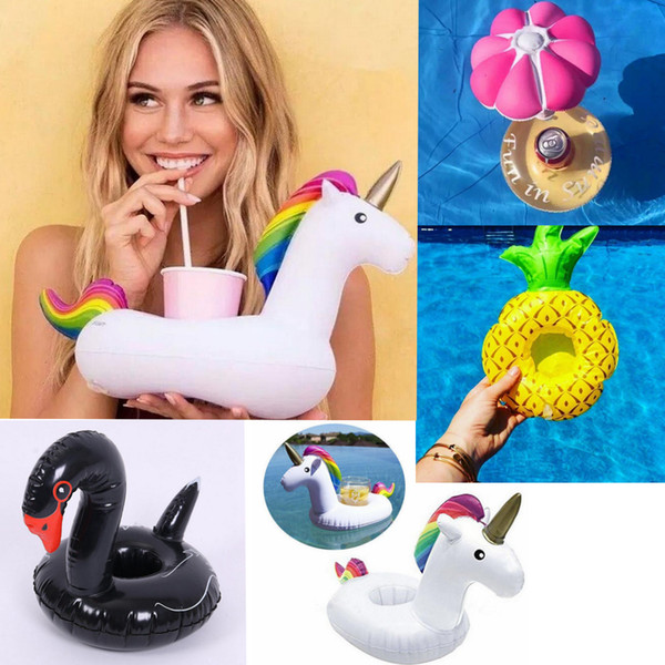 best selling 17 Styles Inflatable Swim Drink Floats Cup Holder Summer Pool Bath Beach Beverage Boat Drink Holder EEA97 330pcs